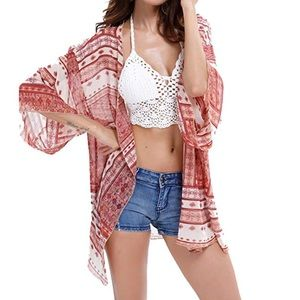 Robesbon Floral Chiffon Loose Beach Cover Up (D9)